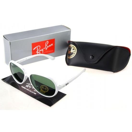 Ray Ban Wayfarer Sunglass White Frame Olivedrab Lens
